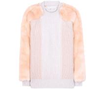 Pullover aus Schurwolle mit Faux-Fur