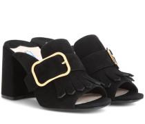 Loafer-Mules aus Veloursleder