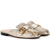 Slippers Marmont aus Metallic-Leder