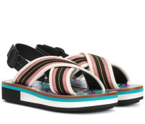 Slingback-Sandalen mit Leder
