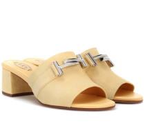 Sandalen Double T aus Veloursleder