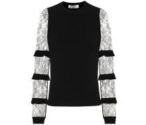 Pullover aus Crêpe mit Spitze
