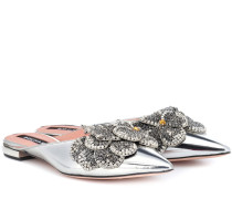 Slippers aus Metallic-Leder