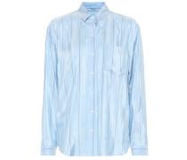 Gestreifte Bluse aus Seidensatin