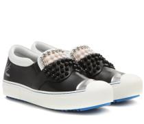 Verzierte Slip-on-Sneakers Karlito aus Leder