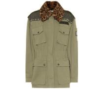 Jacke aus Stretch-Baumwolle mit Pelz