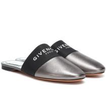 Slippers aus Metallic-Leder