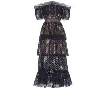 Schulterfreies Kleid aus Lochspitze
