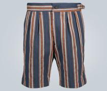 Gestreifte Doppelbundfalten-Shorts
