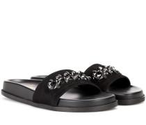 Garavani Sandalen Metal Weave aus Veloursleder