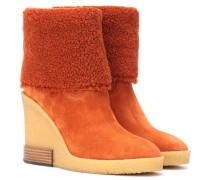 Ankle Boots mit Veloursleder