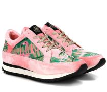 Sneakers Work It! Flamingo aus Samt