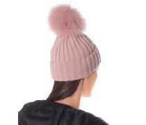 Mütze aus Wolle mit Pelzbesatz