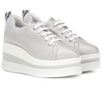 Plateau-Sneakers aus Baumwolle und Leinen