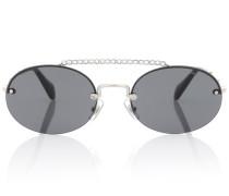Ovale Sonnenbrille mit Kristallen