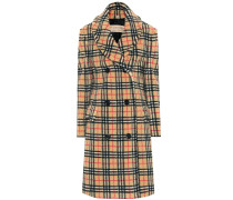 Karierter Mantel aus Faux Fur