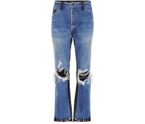 High-Rise Jeans mit Leder