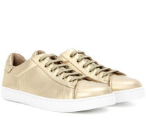 Sneakers Low Top aus Metallic-Leder
