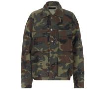 Oversize Camouflage-Jacke aus Baumwolle und Leder