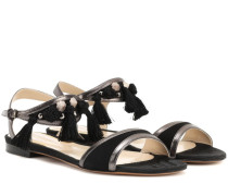 Sandalen mit Metallic-Leder