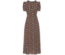 Kleid mit V-Ausschnitt und Kapuze