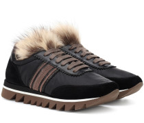 Sneakers mit Leder und Pelz