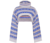 Cropped-Pullover aus Wolle