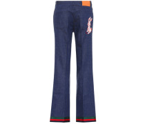 Bestickte Flared-Jeans