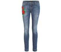 Bestickte Low-Rise Skinny Jeans