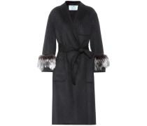 Mantel aus Wolle, Angora und Cashgora mit Pelz