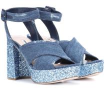 Plateau-Sandalen aus Glitter und Denim