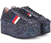 Plateau-Sneakers mit Glitter