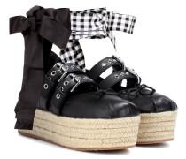 Plateau-Ballerinas aus Leder