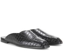 Pantoletten mit Krokodillederprägung