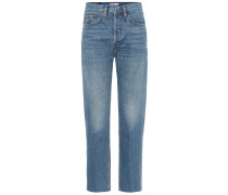 High-Rise Straight Jeans Stove Pipe