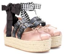 Plateau-Ballerinas aus Satin