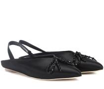 Verzierte Slingback-Sandalen aus Satin