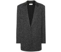 Jacke aus Wolle mit Lederanteil