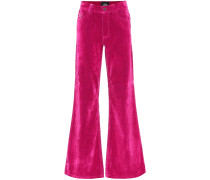 High-Rise Flared Jeans aus Samt