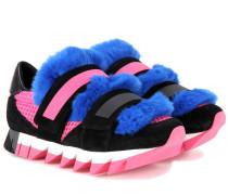 Sneakers Capri aus Veloursleder, Mesh und Fell