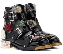Alexander McQueen Verzierte Ankle Boots aus Lackleder