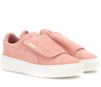 Sneakers Suede Platform Strap aus Veloursleder