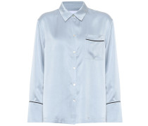 Pyjama-Bluse aus Seidensatin