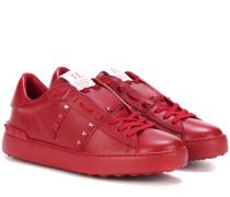 Garavani Sneakers Rockstud Untitled Rosso aus Leder