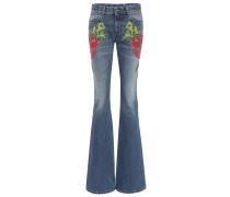 Flared Jeans mit Stickerei