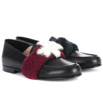 Loafers aus Leder mit Pelz