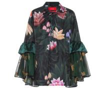 Bedruckte Pyjamabluse mit Seidenanteil und Volants
