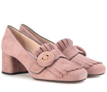 Loafer-Pumps aus Veloursleder