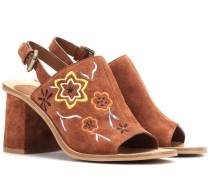 Bestickte Sandaletten aus Veloursleder