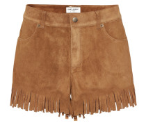 Shorts aus Veloursleder